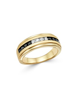 Bloomingdale's - Men's Black & White Diamond Band in Brushed 14K Yellow Gold - 100% Exclusive