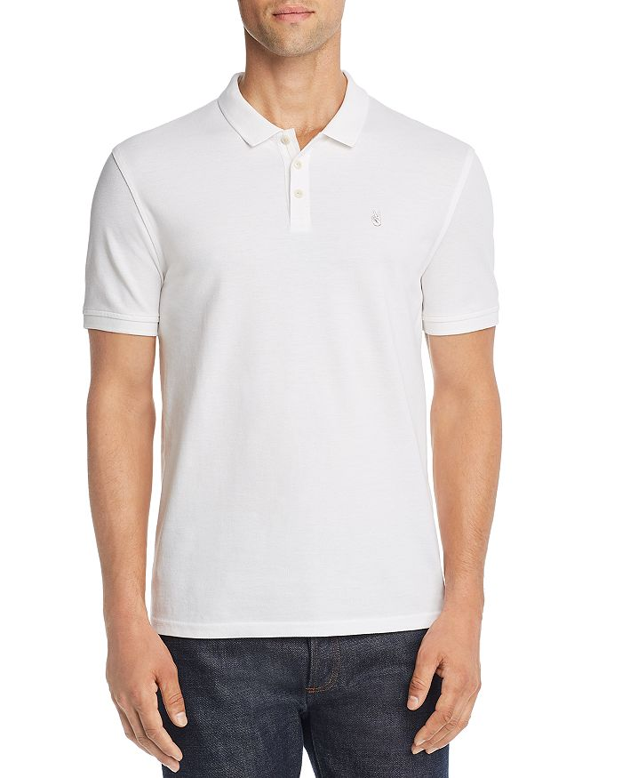 John Varvatos Peace Sign Pique Regular Fit Polo Shirt - 100% Exclusive In White