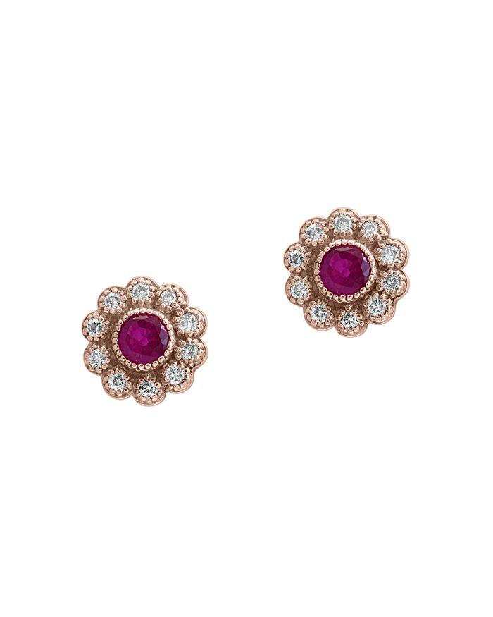Bloomingdale's Certified Ruby & Diamond Milgrain Stud Earrings in 14K Rose Gold - 100% Exclusive  | Bloomingdale's