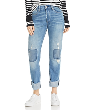 rag & bone Rosa High-Rise Patched Boyfriend Jeans in Ito