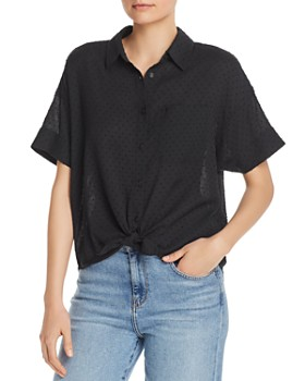 rag & bone - Lenny Swiss Dot Tie-Front Shirt