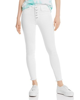 Just Black Denim - High-Rise Frayed Ankle Skinny Jeans in White