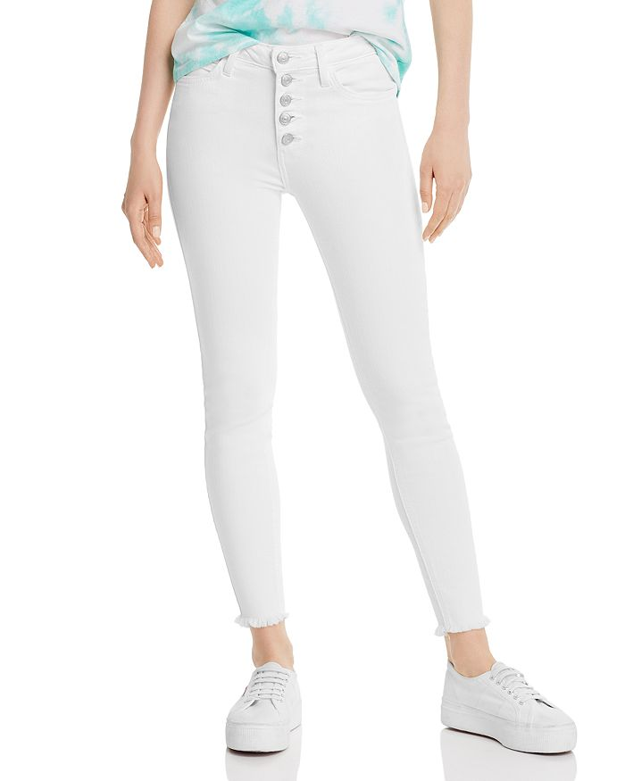 Just Black Denim - High-Rise Frayed Cropped Skinny Jeans in White
