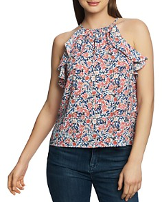 1.STATE - Sleeveless Ruffled Floral-Print Top