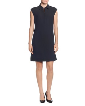 T Tahari - Collared Cap-Sleeve Dress