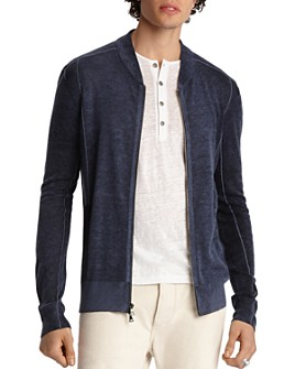 John Varvatos Collection - Baseball Zip-Front Cardigan