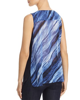 Donna Karan - Sleeveless Color-Block Overlay Top