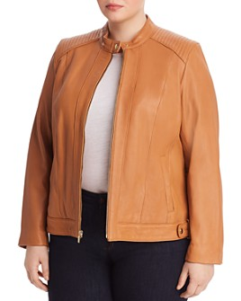 Cole Haan Plus - Leather Moto Jacket