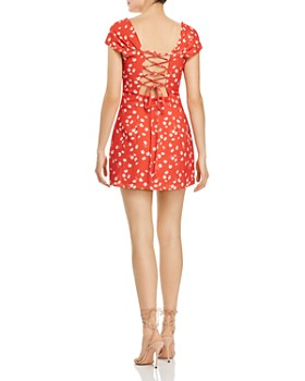 Finders Keepers - Mae Floral Lace-Up Back Mini Dress