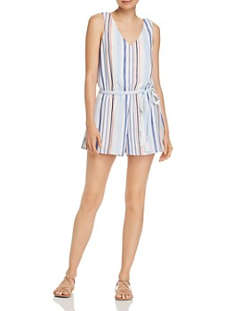 AQUA - Belted Striped Romper - 100% Exclusive