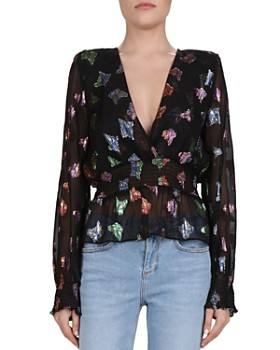 The Kooples - Metallic Butterfly Pattern Blouse
