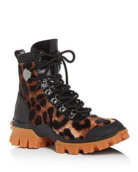 Moncler - Women's Helis Leopard-Print Calf Hair Hiking Boots