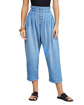 Free People - Mover And Shaker Pleated Denim Pants