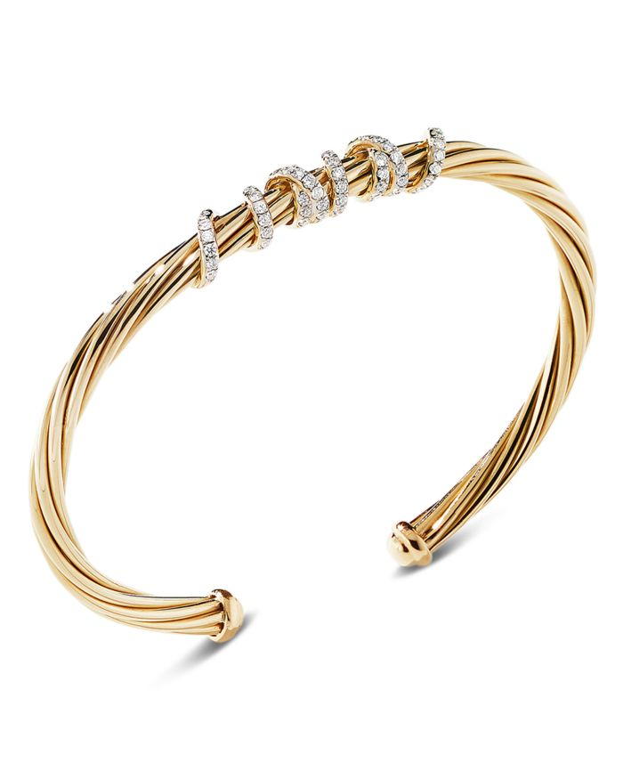 David Yurman 18K Yellow Gold Helena Center Station Bracelet with Diamonds  | Bloomingdale's