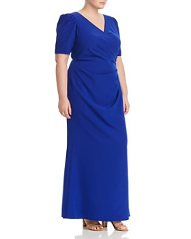 Adrianna Papell Plus - Ruched Puff-Sleeve Gown