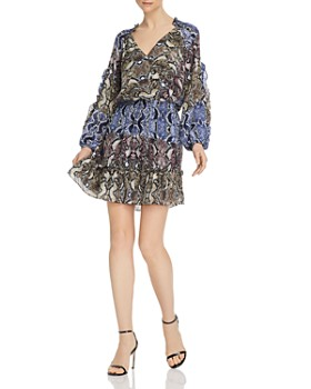 Parker - Gladis Snakeskin-Printed Silk Dress