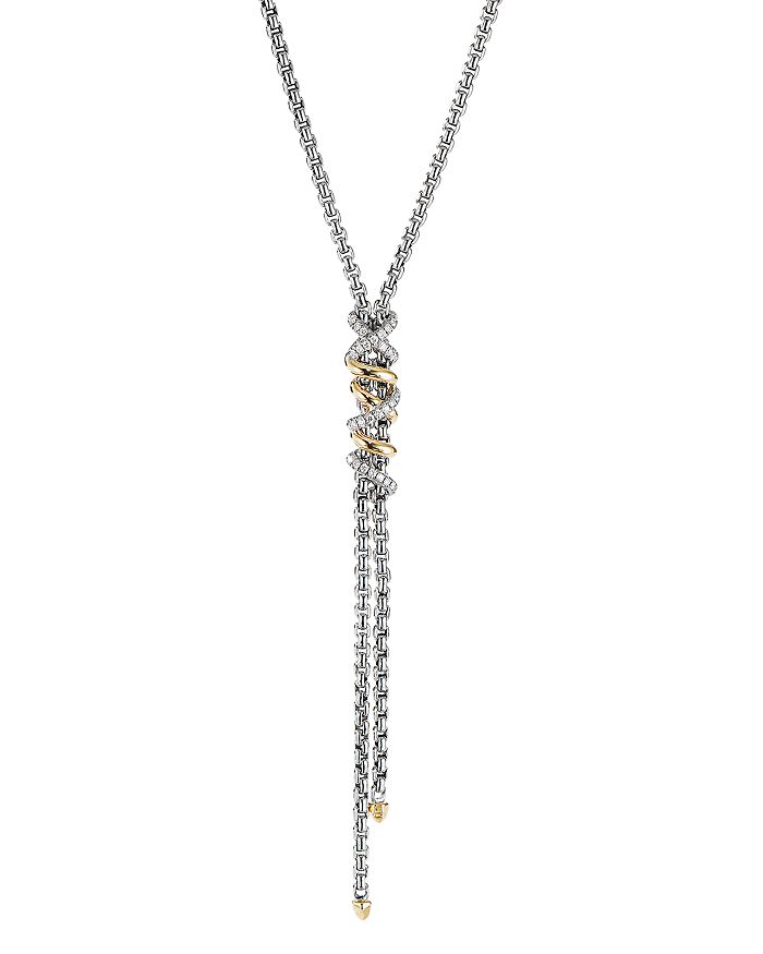 David Yurman - Sterling Silver & 18K Yellow Gold Helena Y Necklace with Diamonds, 18""