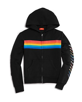 Butter - Girls' Rainbow-Stripe Hoodie & Jogger Pants - Big Kid