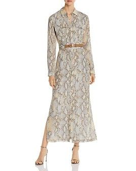Lafayette 148 New York - Snake-Print Maxi Shirt Dress