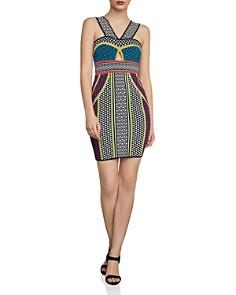 BCBGMAXAZRIA - Mixed-Pattern Body-Con Dress