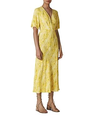 Whistles Open-Back Snakeskin-Print Midi Dress