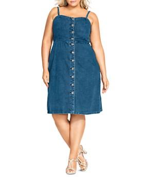 4ea109f5d6a City Chic Plus - Denim Button-Front Dress ...