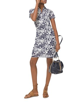 4d96fdf3eb MICHAEL Michael Kors - Embroidered Medallion   Floral Pattern Georgette  Shirt Dress ...