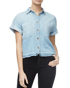 Good American - Cropped Denim Shirt in Blue287