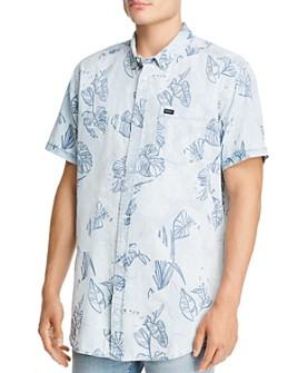 RVCA - Dead Flag Short-Sleeve Leaf-Print Regular Fit Button-Down Shirt