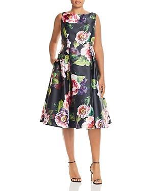 Adrianna Papell Plus Mikado Floral-Print Dress
