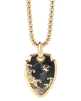 David Yurman - 18K Yellow Gold Waves Shield Pendant with Forged Carbon