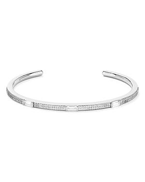 Nadri Mercer Baguette & Pave Open Bangle Bracelet