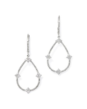 KC Designs - 14K White Gold Diamond Open Pear Drop Earrings
