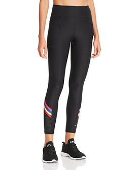 Terez - Striped Detail Laser-Cut Leggings