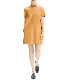 Theory - Leather Shirt Dress
