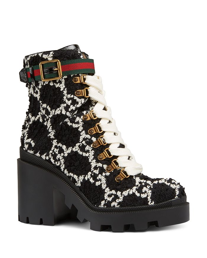 Gucci - Women's GG Tweed Ankle Boots