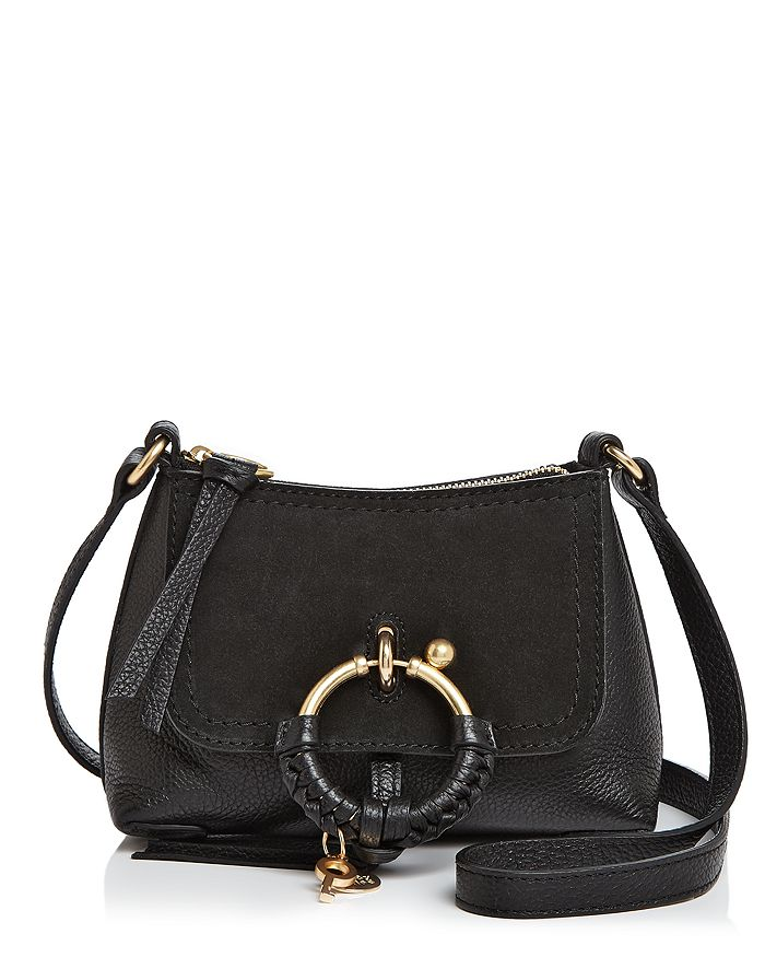 See By ChloÉ See By Chloe Joan Mini Leather & Suede Hobo In Black/gold