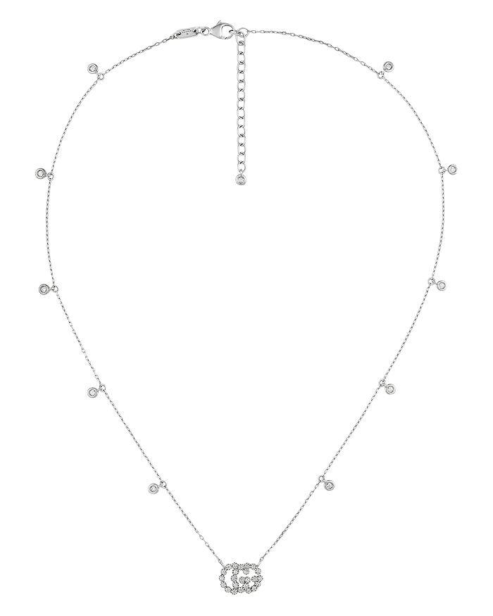 "Gucci - 18K White Gold Running G Diamond Pendant Necklace, 16.5"""