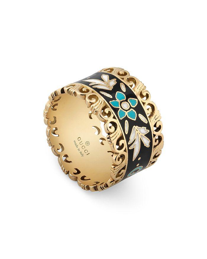Gucci - 18K Yellow Gold Icon Enamel Ring