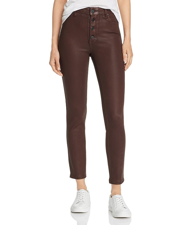 PAIGE - Hoxton Coated Ankle Skinny Jeans in Chicory Coffee