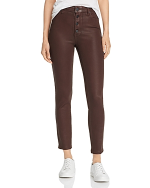 Paige Hoxton Coated Ankle Skinny Jeans in Chicory Coffee-Women
