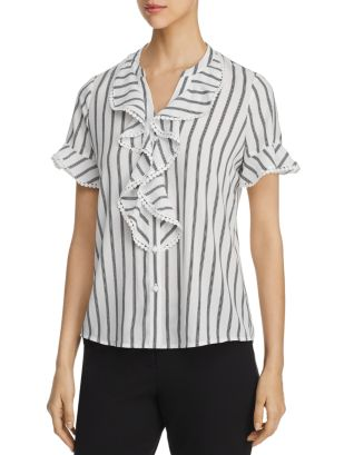 Striped Ruffle Top by Karl Lagerfeld Paris