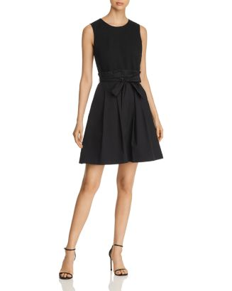 Paperbag Waist Combo Dress by Karl Lagerfeld Paris