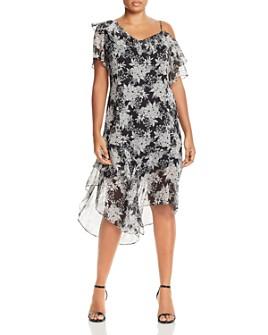 VINCE CAMUTO Plus - Floral Asymmetric Cold-Shoulder Dress