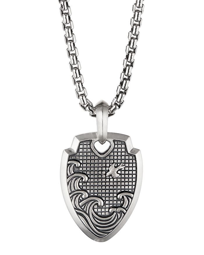David Yurman - Sterling Silver Waves Shield Pendant