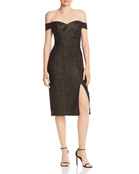 Aidan by Aidan Mattox - Metallic Knit Cocktail Dress