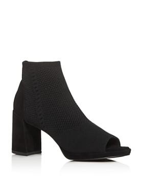 Eileen Fisher - Women's Knit Open-Toe Block-Heel Booties