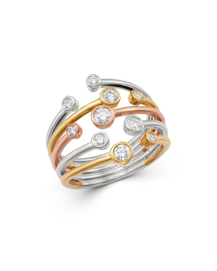 Bloomingdale's Bezel Set Diamond Multi-Row Band in 14K Yellow, White & Rose Gold, 0.50 ct. t.w. - 100% Exclusive  | Bloomingdale's