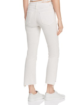 MOTHER - The Insider Crop Step Fray Flared Corduroy Jeans in Chalk
