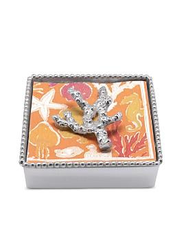 Mariposa - Coral Beaded Napkin Box